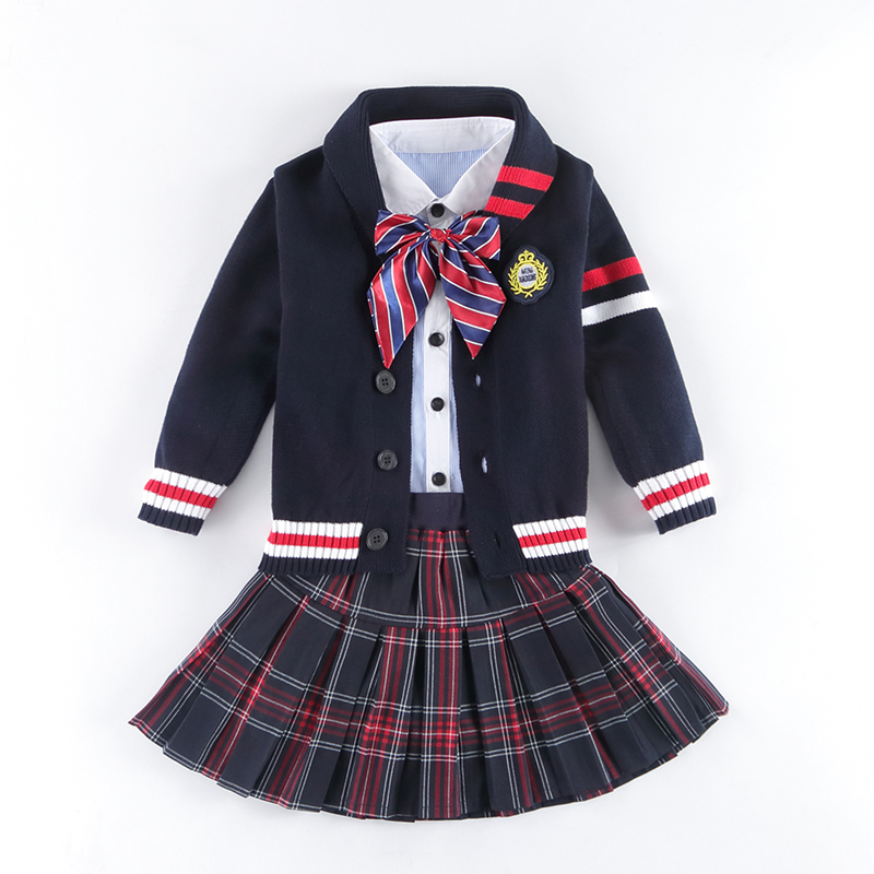 New 2018 Spring Autumn Uniform School Children Suits Boys Girls School Uniforms Sweater Jacket Skirt Pants Student British Suit цена