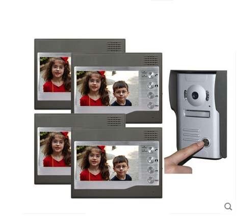 ZHUDELE Home CCTV 7 Inch Color TFT LCD Video Doorphone Door Bell Intercom IR Outdoor Camera 1camera+4monitors