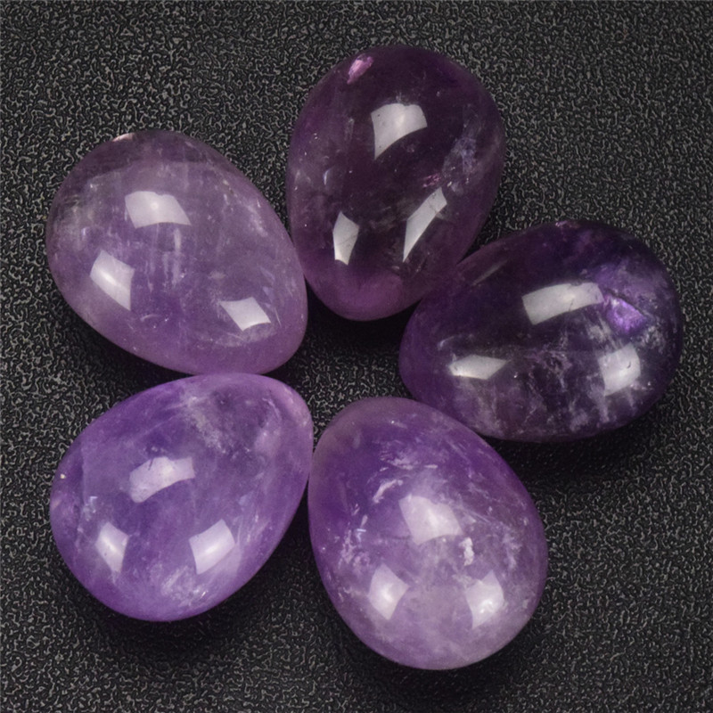 1 pcs Undrilled Natural Amethyst Egg Pelvic Kegel Latihan Vagina mengetatkan Jade Egg Health Care Crystal Healing Natural Stone