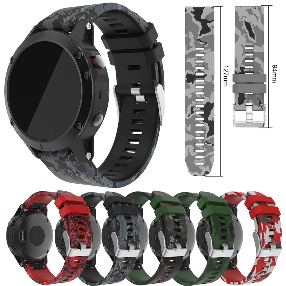 Camouflage Print Silicone Sport Band Strap For Garmin Fenix 5 / 5 Plus SmartWatch 22mm Replacement Strap Rubber Bracelet Belt