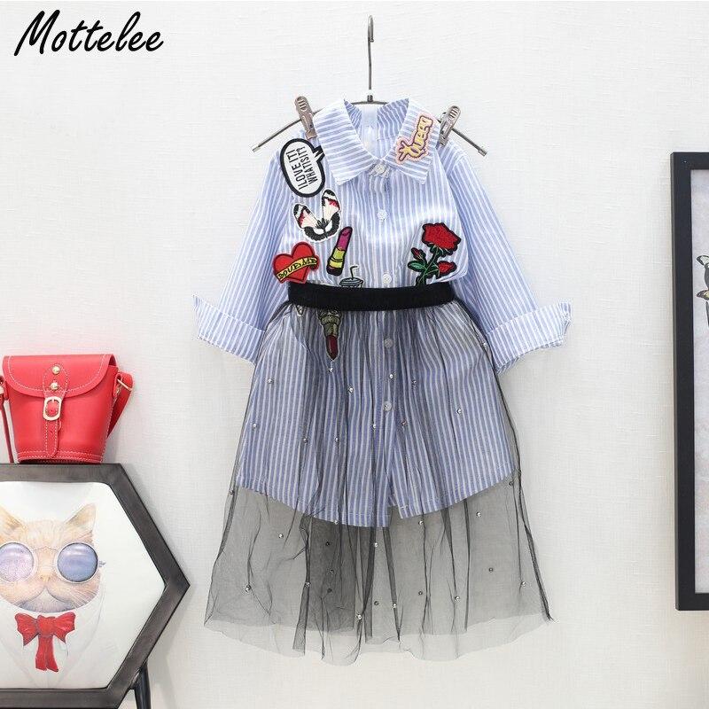 Mottelee Girls Clothing Set Long Sleeve Blue Stripped Top Cotton Shirt + Black Tulle Skirt 2pcs Sets Children Clothes Suit 3-7 Y