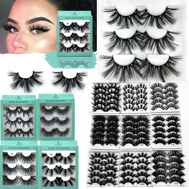 3/5/7 Pair 25mm Lashes Eyelashes 3D Mink Lashes Makeup Handmade Full Strip Mink Eyelashes Soft Fluffy Eyelashes Full Volume Lash
