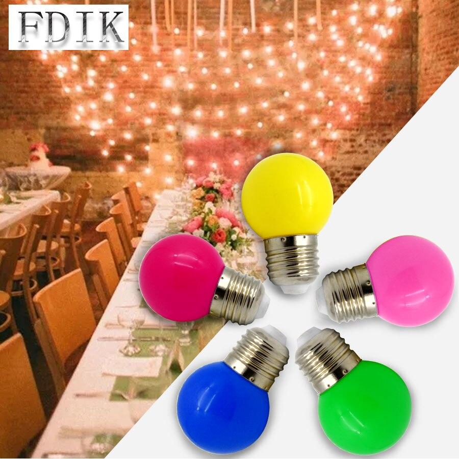 100 pcs/Lot coloré Globe ampoule lumière E27 1 W 3 W coloré ampoule LED lumières vacances lampes maison partie décorative lampe éclairage ampoule