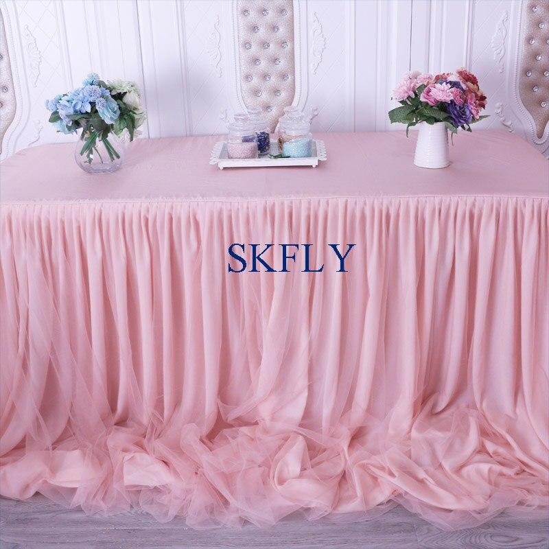 CL072C magnifique 2019 fait sur commande beaucoup de couleurs nouveau mariage taffetas mousseline de soie tulle à volants blush rose jupe de table avec velcro-in Jupes de table from Maison & Animalerie    3