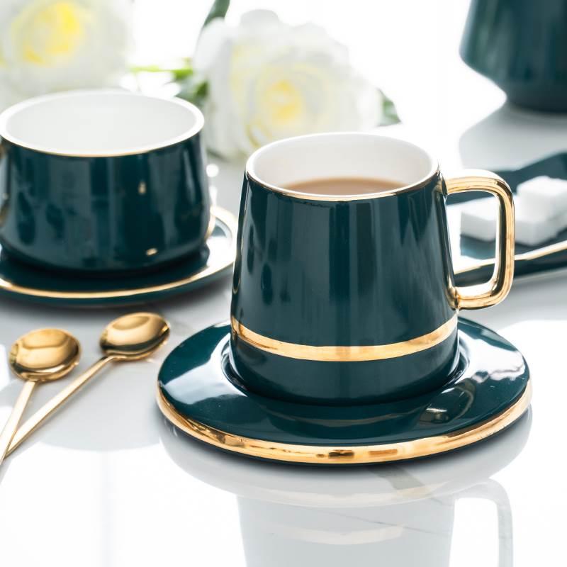 INMYLIFE ensemble de tasse à café petit cadeau créatif de luxe européen pour les amoureux ensemble de tasse à thé en porcelaine Design doré
