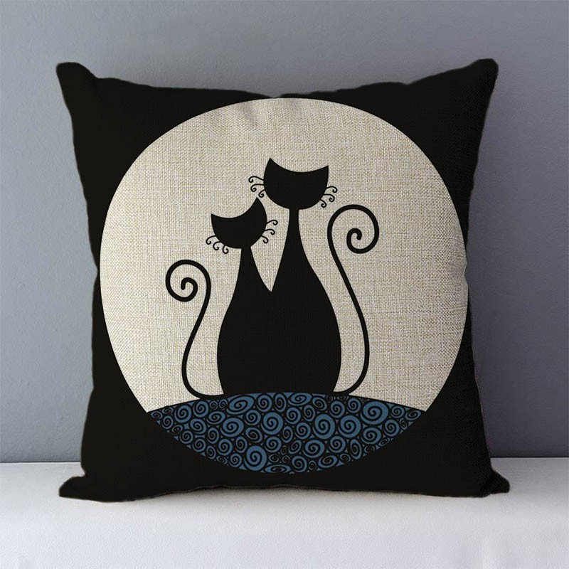 HTB18aWkXiHrK1Rjy0Flq6AsaFXaZ Selected Couch cushion Cartoon cat printed quality cotton linen home decorative pillows kids bedroom Decor pillowcase wholesale