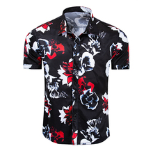 2019 Summer New Fashion Casual Floral Shirt Mens Short-sleeved Cotton Printed Slim