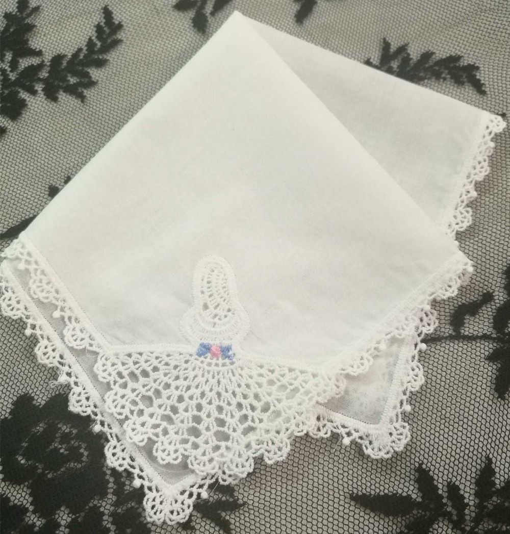 Set Of 12 Fashion Women Handkerchief 11.5 Inch White Cotton Embroidered Lace Edging Handkerchiefs Hankies Hanky For Bridal Gifts