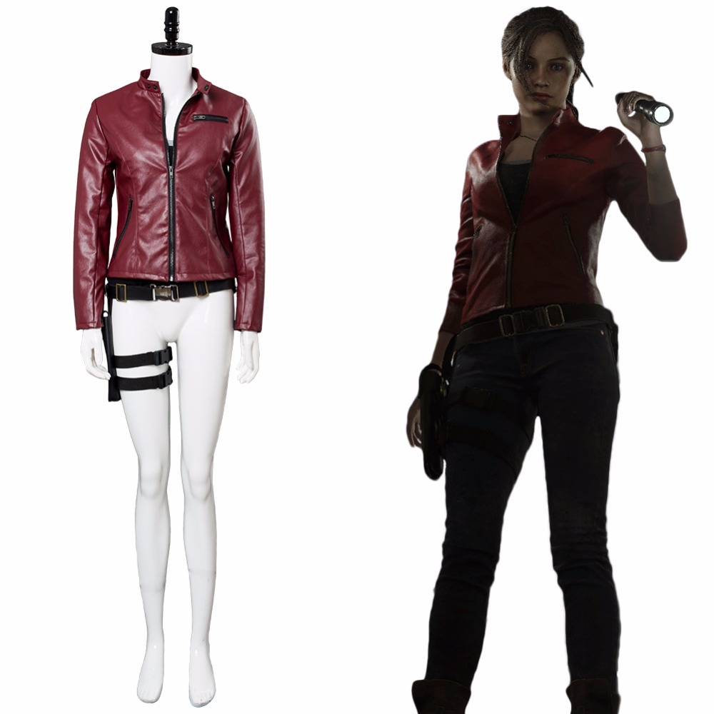 Game Resident Evil 2 Remake Cosplay Claire Redfield Costume Red Jacket Outfit Women Halloween Carnival Costume Custom Made
