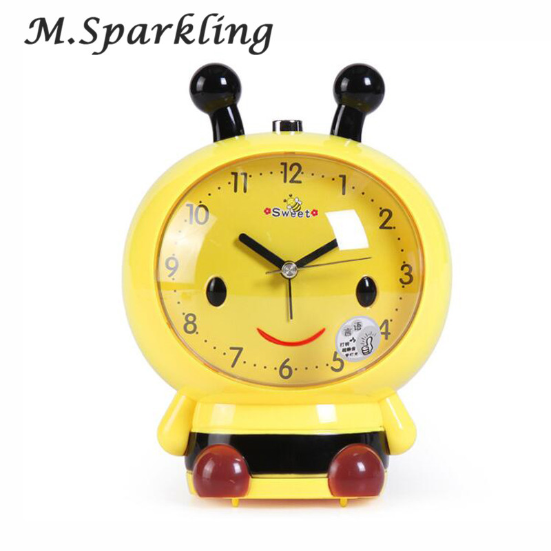 Cartoon Bee Model Table Clocks Mute With Light Speaker Bees For Children Alarm Clock