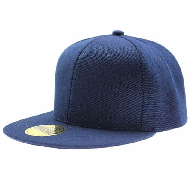 Réglable hommes femmes casquette de baseball solide hip-hop snapback plat chapeau visière