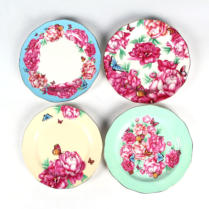 Flower Hand Painted Bone China Dinner Plate Steak Plate Flat Dishes Family Dinnerware Set Tableware Kitchenware Christmas Gift-in Dishes u0026 Plates from Home ...  sc 1 st  AliExpress.com & Flower Hand Painted Bone China Dinner Plate Steak Plate Flat Dishes ...