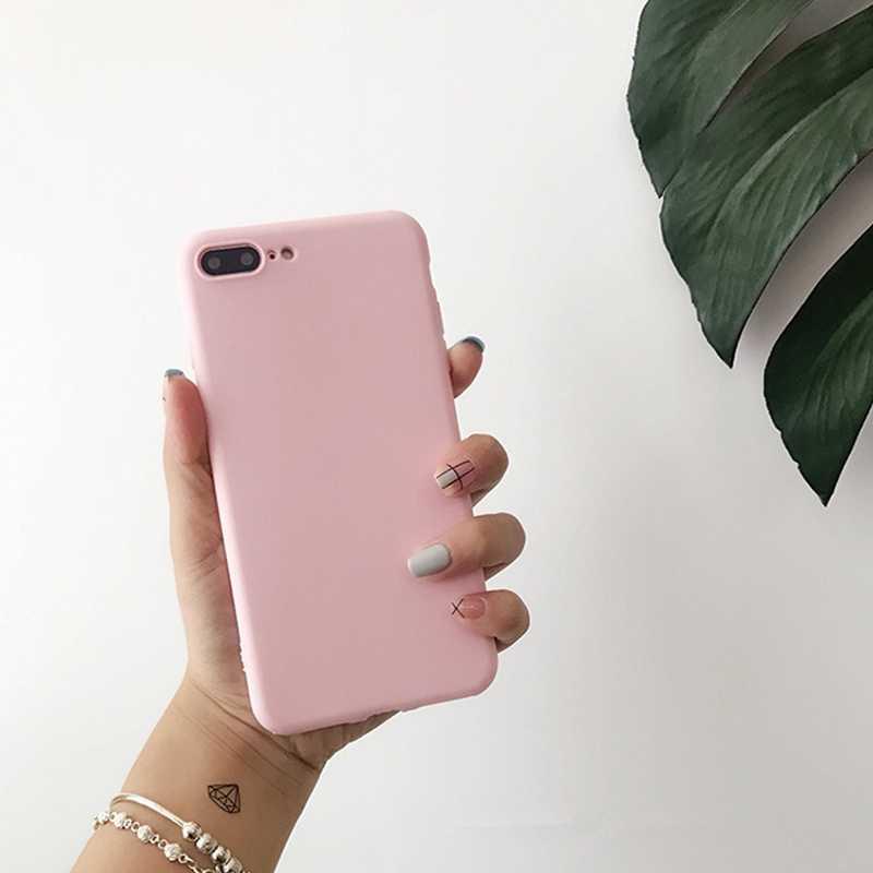 スリム固体色 iphone 11 プロケースカップルバックソフトシリコーン電話ケース iphone 8 XR X XS 11 プロマックス 7 8 6 6S プラスカバー