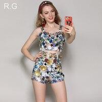 RG роскошный бисер аппликации укороченный топ А силуэт короткие брюки женские уличные печати 2 шт. Комплект топ и брюки наряды весна лето