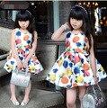 2015 Новых летних девочек платья Мода Цветы Длиной До Колен Повседневные платья для девочек рукавов чешские дети платья девушки