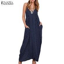 ZANZEA 2018 летнее платье женское платье без Бретелек Горошек Свободные Длинные Макси платье Пляжная Повседневное Vestidos плюс Размеры XS-4XL