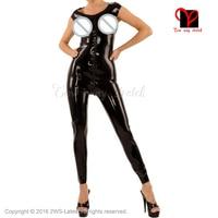 Black Sexy Latex Catsuit Breast Free bust Rubber bodystockings Gummi bodysuit pants Jumpsuit overall Tank Jodhpurs plus LT 021