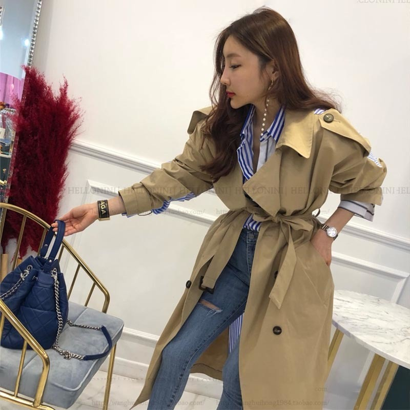 TWOTWINSTYLE Striped Patchwork Windbreaker For Women Long Sleeve Lace Up Trench Coat Female Korean Fashion 19 Autumn Oversized 12