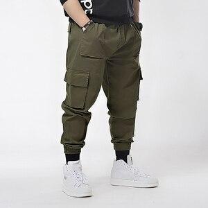 Image 2 - ฤดูใบไม้ผลิผู้ชาย Cargo กระเป๋ากางเกงดินสอกางเกงฤดูร้อน High Street PLUS ขนาด 6XL 7XL Mens Casual กีฬา Cool กางเกง Army ยืดสีเขียว