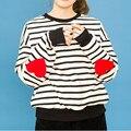 Кофты Свободные Повседневная Полосатый Рисунок Сердца С Длинными рукавами Толстовка Для Женщин Толстовки 2016 Зима Harajuku Сейлор Мун