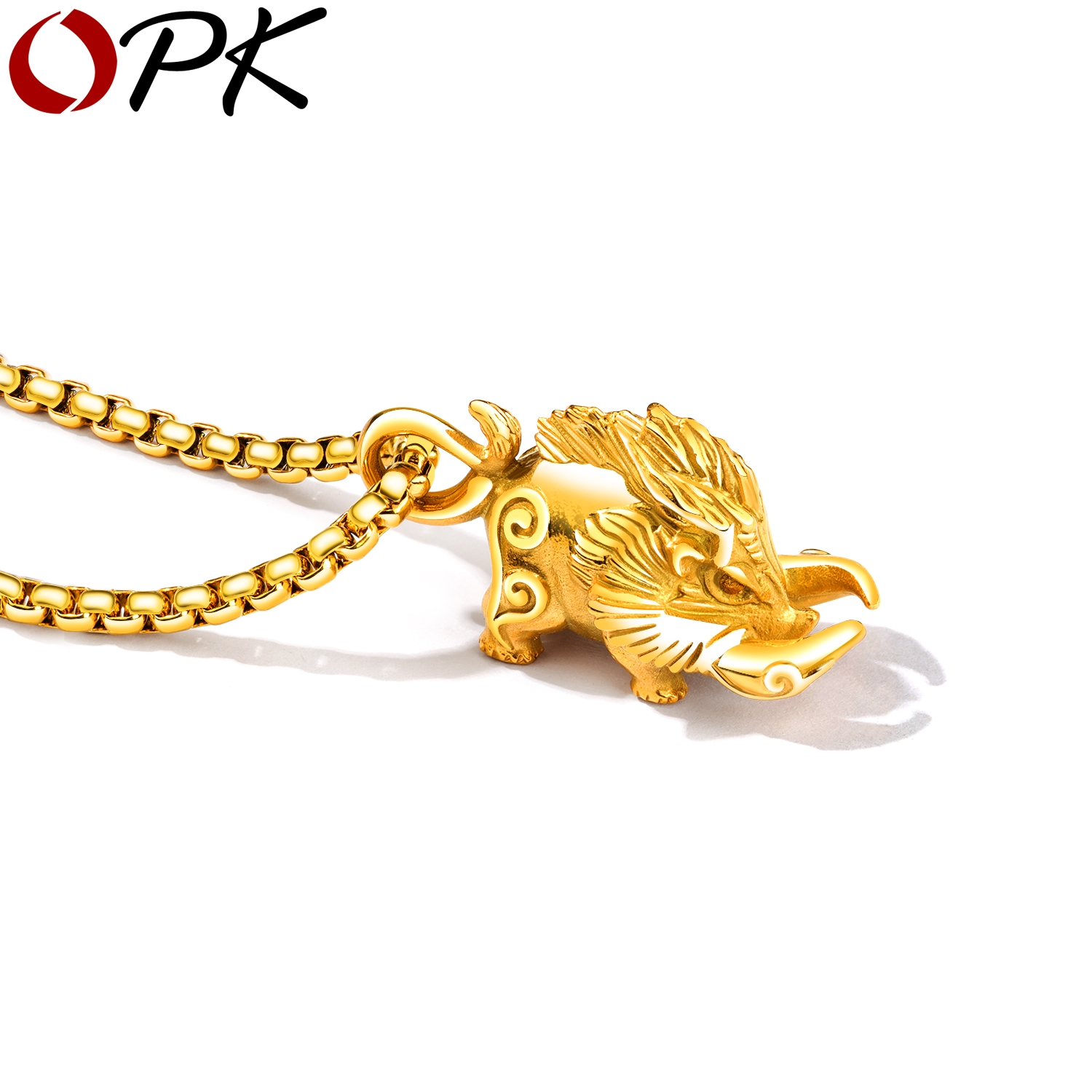 OPK New Fashion Hyperbole Wild Boar Designed Stainless Steel 3 Color 600mm Length Chain Animal Style Punk Jewelry For Men GX1404