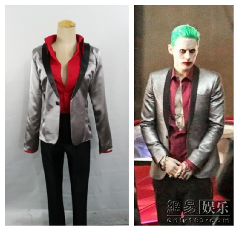 Us 21 84 5 Off Batman Suicide Squad Joker Cosplay Costume Suit Men Clown Jared Leto Silver Coat Psychos Killers Suit Wig In Movie Tv Costumes From
