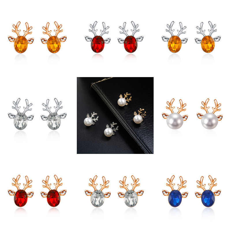 Deer Head Antler Stud Earrings For Women Crystal Zircon Brincos Simulated Pearl Earrings Oorbellen Classical Jewelry Christmas