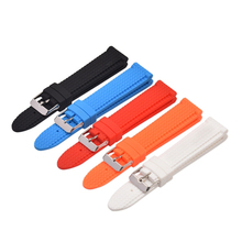 18 20 22mm Silicone Watch Band Exchange Rubber Band Replacement Soft Strap Belt Loop With Silver Pin Buckle цена 2017