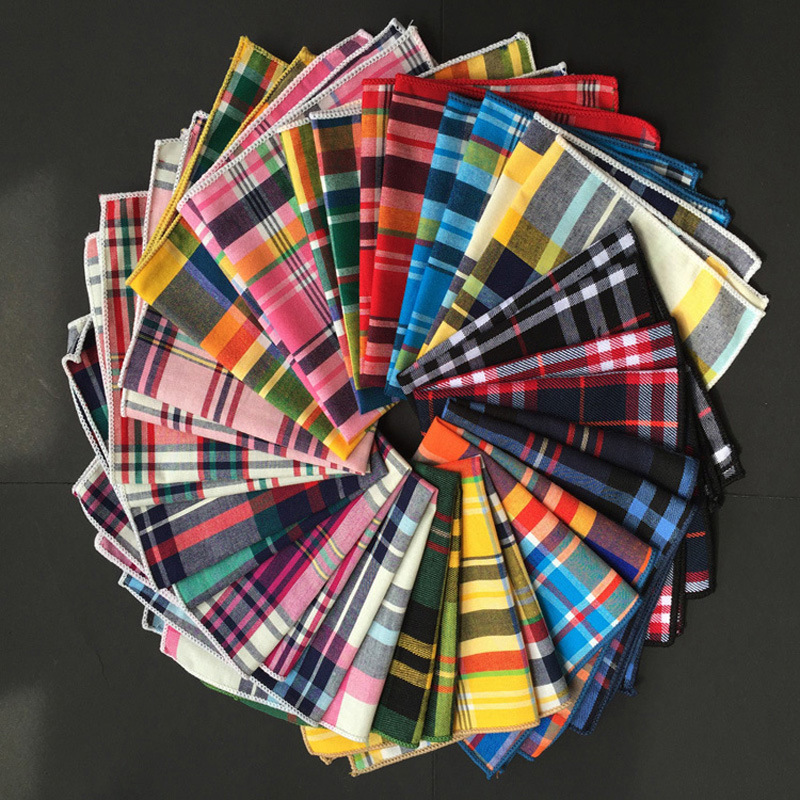 Classic Cotton Material Scottish Tartan Squares Suit Pocket Towel Dresses Men Pocket Square Handkerchief 23*23cm