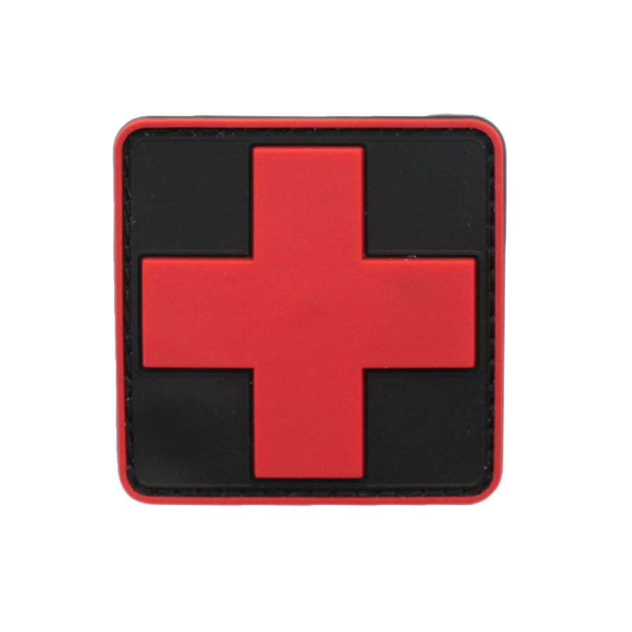 New 3d Pvc Rubber Medic Paramedic Red Cross Flag Of Switzerland Swiss Cross Patch Backpack Tactical Army Morale Badge Patches Warm And Windproof Rock & Pop