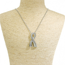 Silver Ribbon Memorial Necklace