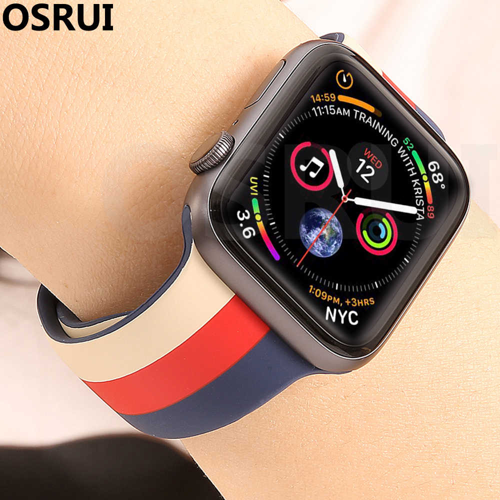 42 Mm 38 Mm Tali untuk Apple Watch Band Correa 44 Mm 40 Mm Sport Silikon IWatch 4 3 2 Gelang pulseira Apple Watch Aksesoris