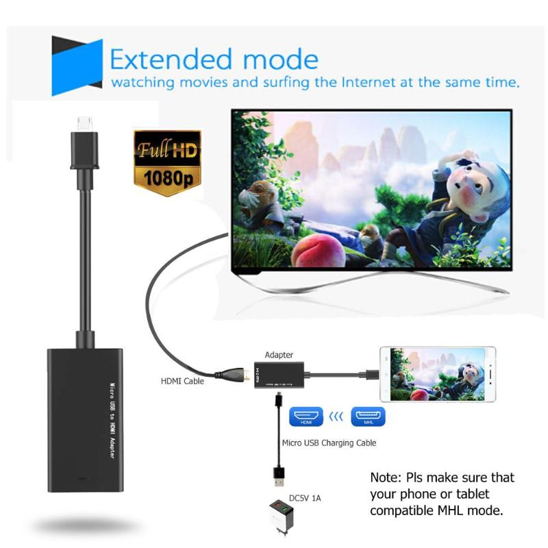 ODRING MHL Micro USB TV Cable Adapter Micro USB//HDMI//HML Adapter Micro USB MHL to HDMI Adapter Cable 1080P HDTV for Samsung Galaxy S4 S3//SIII//i9300 Tab S Tab Pro etc S5 Note2//N7100 Black