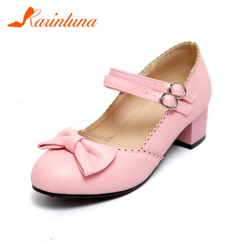 KARINLUNA Women's Sweet Bow Knot Mary Jane Shoes Woman Chunky Heel Party Wedding Casual Pumps Big Size 32-43