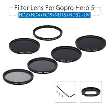 Junestar ND2/ND4/ND8/ND16/ND32/UV Filter Lens HD +Adpter Ring & Protetive Cap for GoPro Hero 5 Sports Action Camera