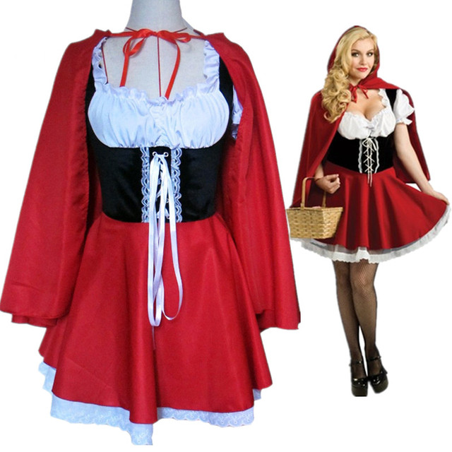Material Object Photo Wholesale Adult Little Red Riding Hood Costume Women Halloweencarnival -9280