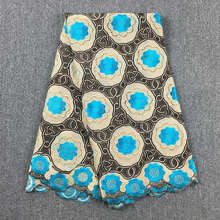 High Quality African Swiss Cotton Voile Lace Khaki  Turquoise Blue 058 Free Shipping 5Yds Lot 100% Cotton Lace For Wedding
