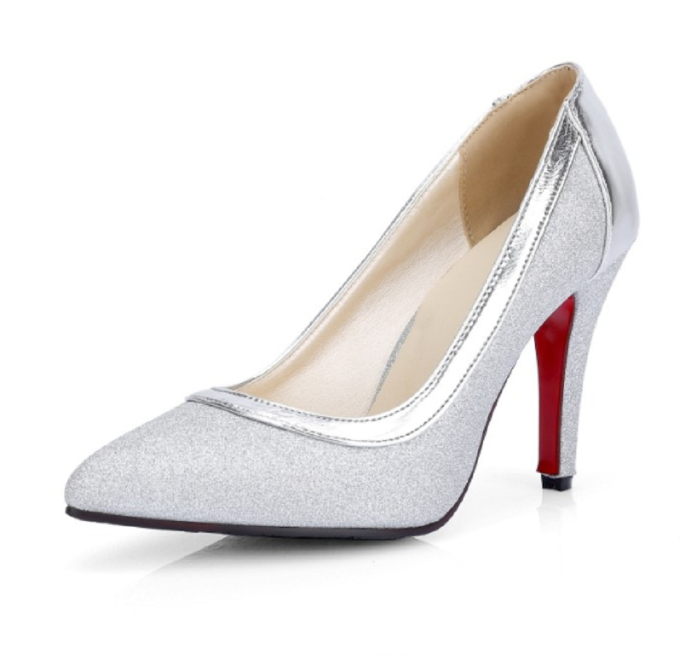 Spring/autumn super high heel shoes woman silver colors pointed toe thin heels shallow 11 3 big size women office ladies pumps pumps shoes woman spring and autumn high heeled 11cm sexy shallow mouth thin heels flock pointed toe singles shoes size 35 39