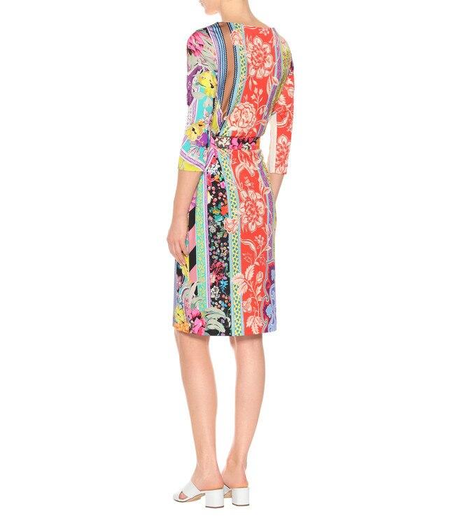 4 Xxl Seta Fashion Stampa Da Maniche Vestito Colorful Del Di Jersey 3 Design Nuovo Giorno Lusso Flower 2018 Abito Sottile Donna Elasticizzato np0446T