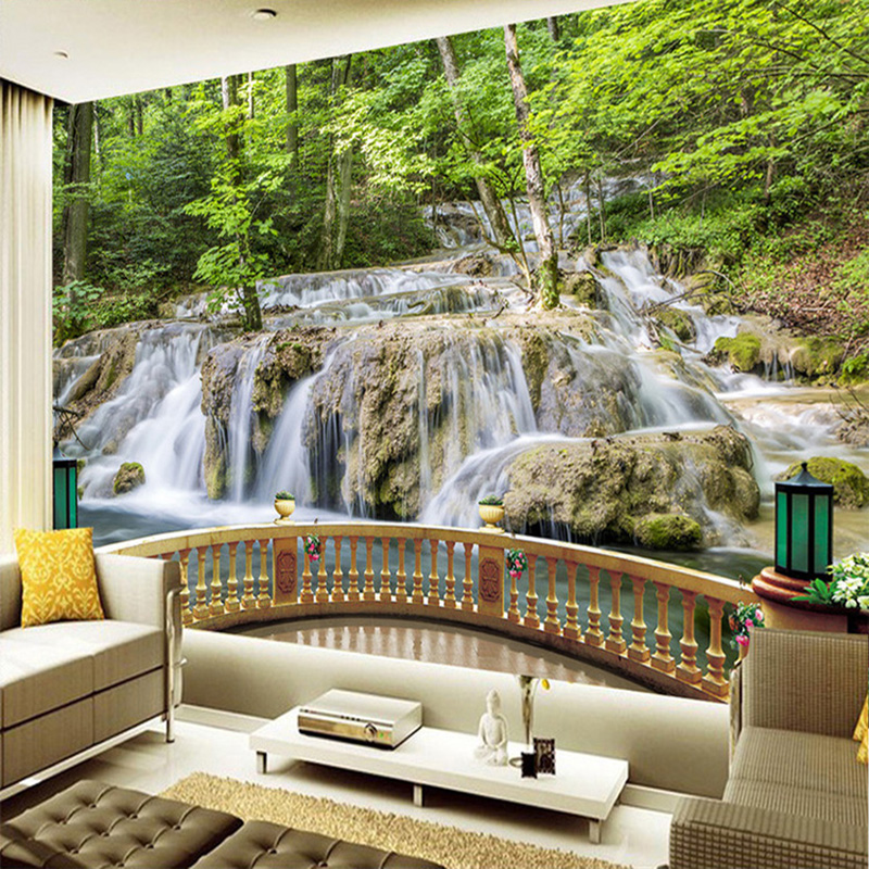Chinese wallpaper waterfall forest landscape nature 3d for Nature wallpaper for living room