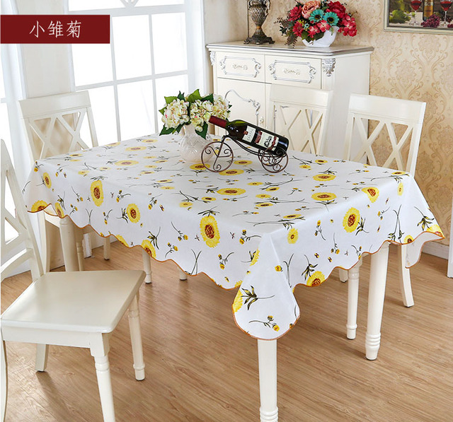 Good Picnic Dining Garden Daisy Oil Proof Oil Cloth PVC Pad Floral Waterproof  Vintage YELLOW Table Cover