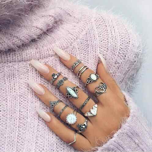 Midi Rings Set For Women Flower Leaves Feather Rings Bohemian Punk Ring Sets Jewelry