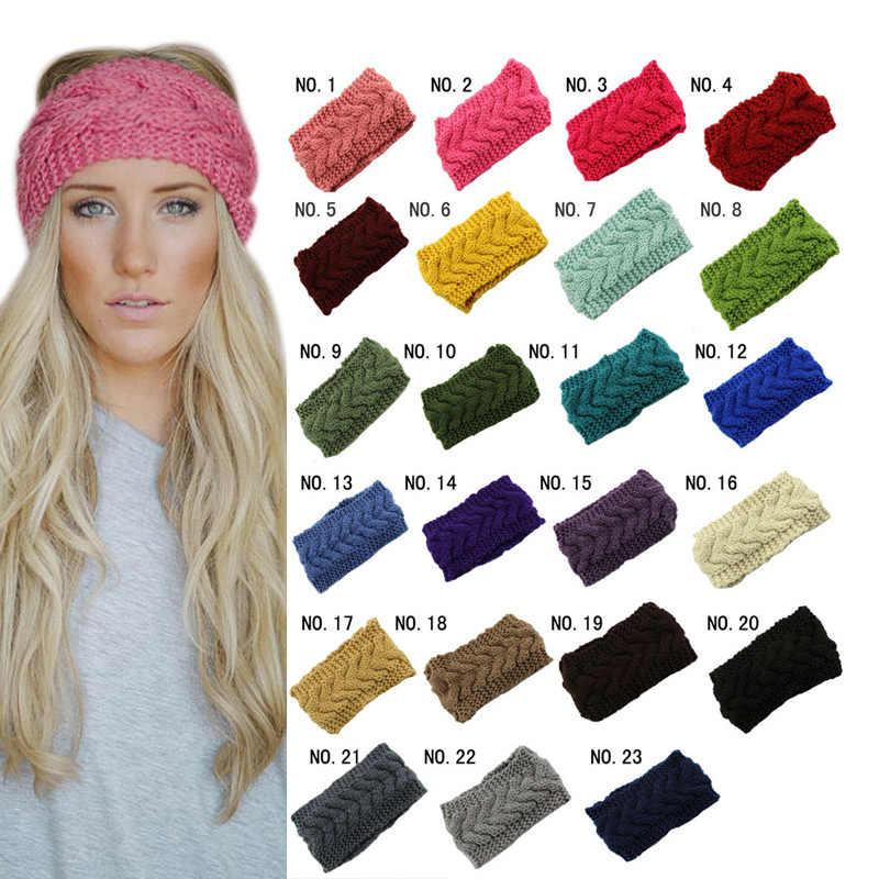 32534246 Knitted Turban Headbands Winter Warm Crochet Head Wrap Wide Ear Warmer  Hairband Hair Accessories for Women