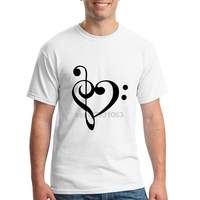 Summer Tee Shirt Adult Music Notes Love Heart T Shirt Sales Round Neck Cheap Sale Man