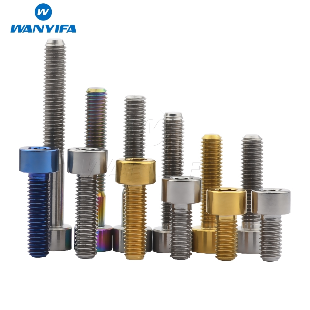 цена Wanyifa Titanium Ti M5 x 10 12 16 18 20 25 30 35 40 45 50 55 60mm Allen Key Square Head Bolt Screw for Bicycle Stem Seatpost