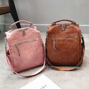 Image 4 - Kadın sırt çantası deri okul çantaları genç kızlar için rahat büyük kapasiteli çok fonksiyonlu Vintage siyah omuz çantaları 2020 XA158H