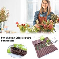 680Pcs Bamboo Flower Floral Wire Flower Arrangement Aids Floral Gardening Wire Bamboo Set Green Brown Garden Decoration
