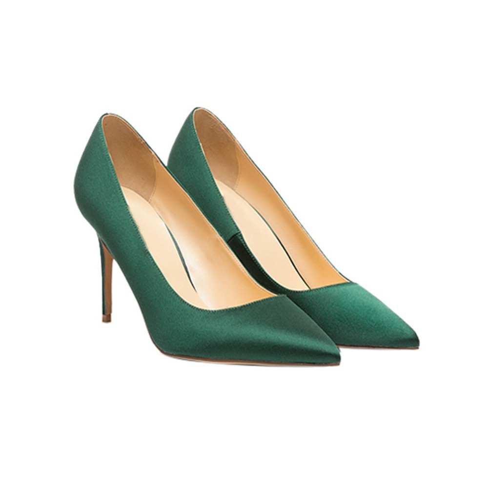 THEMOST Elegant Ladies Pointed Toe Mid Heel Pumps Silk Satin Slip on Party Dress Shoes in Red Green White satin slip sleep dress