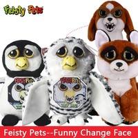 Funny Change Face Feisty Pets Owl Fox Bear Unicornio Plush Toy Unicorn Dog Cats Leopard Stuffed Animals PLush Toy For Kids