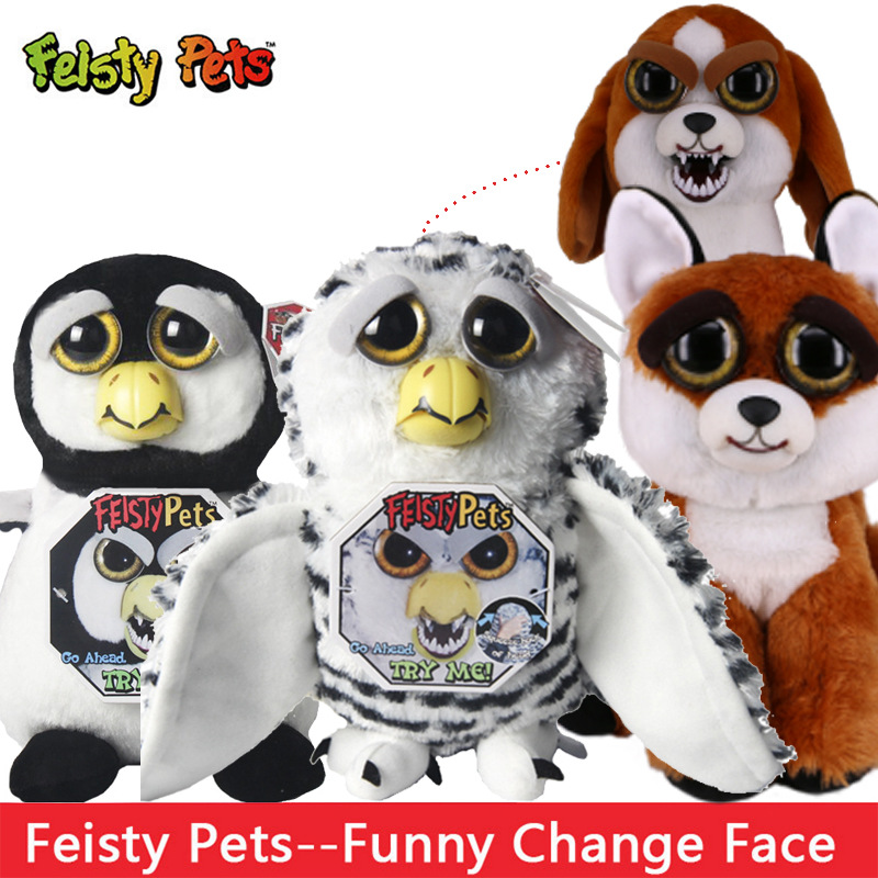 Funny Change Face Feisty Pets Owl Fox Bear Unicornio Plush Toy Unicorn Dog Cats Leopard Stuffed Animals PLush Toy For Kids